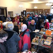 crowd of avid book buyers